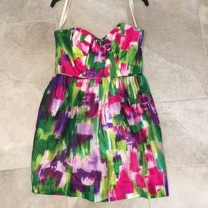 Shoshanna Brushstroke Print Strapless Mini Dress